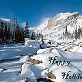 Happy Holidays Snowy Mountain Scene by Cascade Colors