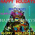 Happy Holidays Word Splash A by David Lee Thompson