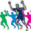 Happy Marathon Runner Running Retro by Aloysius Patrimonio