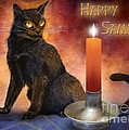 Happy Samhain Kitten And Candle by Melissa A Benson