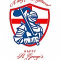 Happy St George A Day For England Greeting Card by Aloysius Patrimonio