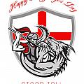 Happy St George Stand Tall Proud To Be English Retro Poster by Aloysius Patrimonio