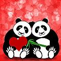 Happy Valentines Day Panda Couple Hearts Bokeh by David Gn
