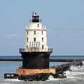 Harbor Of Refuge Light  And Breakwater by Christiane Schulze Art And Photography