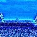 Harbor Of Refuge Lighthouse And Sailboat Abstract by Kim Bemis