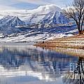 Hardy Fishermen Deer Creek Reservoir And Timpanogos In Winter by Gary Whitton