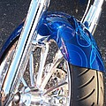 Harley Close-up Blue Flame  by Anita Burgermeister