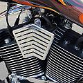 Harley Close-up Orange Flame by Anita Burgermeister