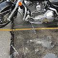 Harley Close-up Rain Reflections Wide by Anita Burgermeister