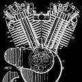 1923 Harley Davidson Black And White Engine Patent by Dan Sproul