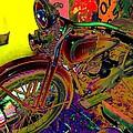 Harley Davidson In Neon  by Wendy Clem