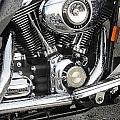 Harley Engine Close-up Rain 3 by Anita Burgermeister
