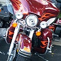 Harley Red W Orange Flames by Anita Burgermeister