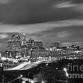 Hartford Skyline At Night Bw Black And White by Jon Holiday