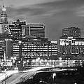 Hartford Skyline At Night Bw Black And White Panoramic  by Jon Holiday