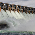 Hartwell Dam With Flood Gates Open by Lynne Jenkins