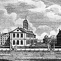 Harvard College, Ca. 1767. From Left by Everett