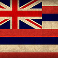 Hawaii State Flag Art On Worn Canvas by Design Turnpike
