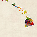 Hawaii Watercolor Map by Michael Tompsett