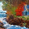 Hawaiian Hut By Rushing Waters by Jenny Lee