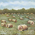 Haybales In The Field by Vic  Mastis
