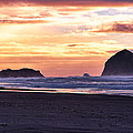 Haystack Rock Beach Walk Sunset by Chriss Pagani