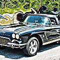 Chevrolet Corvette Vintage With Curly Background by Lesa Fine