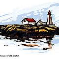 Head Harbour Lighthouse - Field Sketch by Art  MacKay