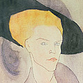 Head of a Woman wearing a hat by Amedeo Modigliani
