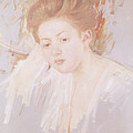 Head Of A Young Girl Pastel On Paper by Mary Stevenson Cassatt