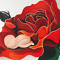 Healing Painting Baby Sleeping In A Rose by Catt Kyriacou