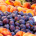 Heap Of Fresh Organic Peaches And Damson Plums  by Leyla Ismet