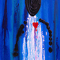 Heart And Soul - Angel Art Blue Painting by Sharon Cummings