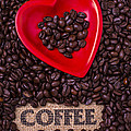 Heart Dish With Coffee Beans by Garry Gay