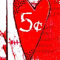 Heart Five Cents Red by Carol Leigh