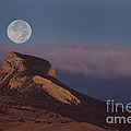 Heart Mountain And Full Moon-signed-#0325 by J L Woody Wooden