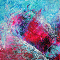 Heart On Ice Abstract Blue Magenta 8x10 Painting Original Contemporary Modern Heart Painting by Belinda Capol