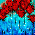 Hearts On Fire - Romantic Art By Sharon Cummings by Sharon Cummings