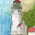 Heceta Head Lighthouse Or Nautical Chart Map Art Cathy Peek by Cathy Peek