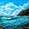 Heceta Head Lighthouse Oregon Coast Original Painting Forsale by Bob and Nadine Johnston