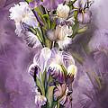 Heirloom Iris In Iris Vase by Carol Cavalaris