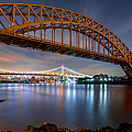 Hell Gate And Triboro Bridge By Night by Mihai Andritoiu