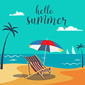 Hello Summer Poster. Tropical Beach by Ivector