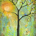 Hello Sunshine Tree Birds Sun Art Print by Blenda Studio