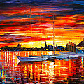 Helsinki Sailboats At Yacht Club by Leonid Afremov