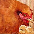 Hen With Chick On Wood by Debbie LaFrance
