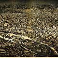 Herancourts Birdseye Of Minneapolis 1885 by MotionAge Designs
