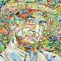 Hermann Hesse With Hat Watercolor Portrait by Fabrizio Cassetta