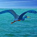 Heron Flying Over Ocean by Fred Croydon