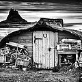Herring Boat Hut Lindisfarne Monochrome by Tim Gainey